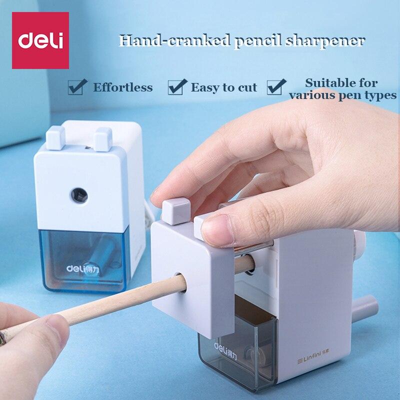 Многофункциональная точилка для карандашей Deli, Студенческая прозрачная пластиковая автоматическая точилка для карандашей, офисные канцел...