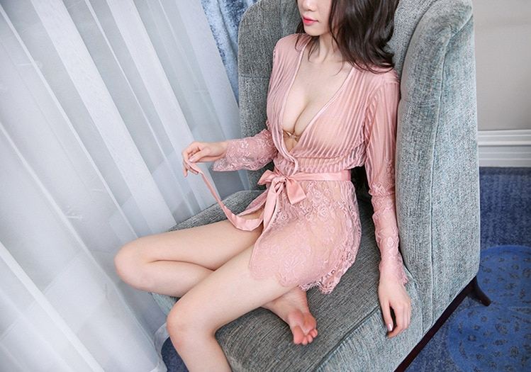 Sexy Lace Sling Striped Skirt Perspective Large Size Ladies Temptation Set Costumes Plus Women Nightgown
