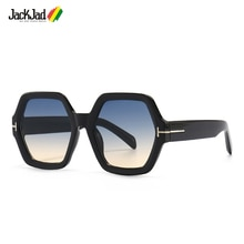 JackJad 2021 Fashion Cool Hexagonal Frame Style Gradient Sunglasses Women Vintage ins Brand Design S
