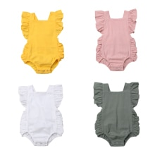 Newborn Baby Girl Ruffled Solid Color Sleeveless Backless Romper Jumpsuit Outfit Sunsuit Baby Summer