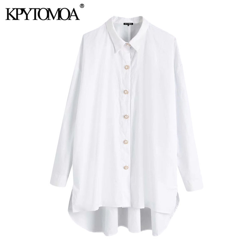 aliexpress - KPYTOMOA Women 2021 Fashion Oversized Asymmetry Blouses Vintage Long Sleeve Button-up Female Shirts Blusas Chic Tops