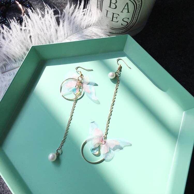Korea retro asymmetrical exquisite butterfly imitation pearl alloy long wings earrings for women's best gift earrings 2021 trend