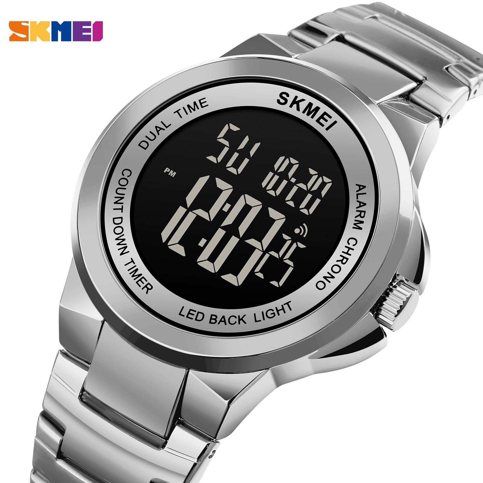 SKMEI Brand Men Digital Watches Fashion Chrono Countdown Electronic Clock Luxury Stainless Steel Men's Stopwatch Masculino 1712