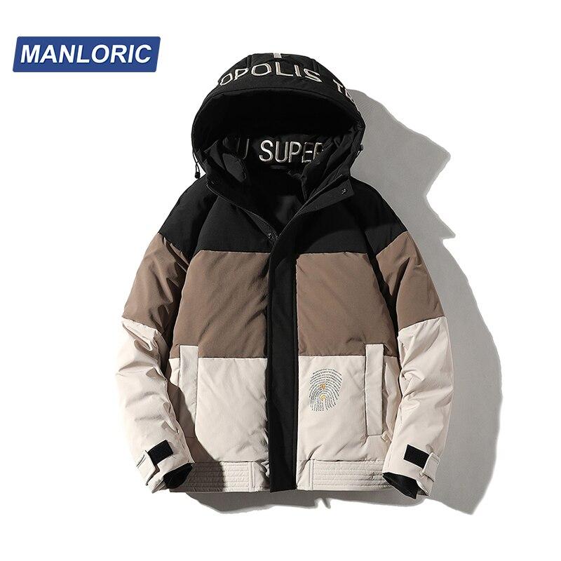 Мужской зимний пуховик с капюшоном MANLORIC, повседневный пуховик на 90% белом утином пуху, теплая куртка-пуховик в стиле пэчворк