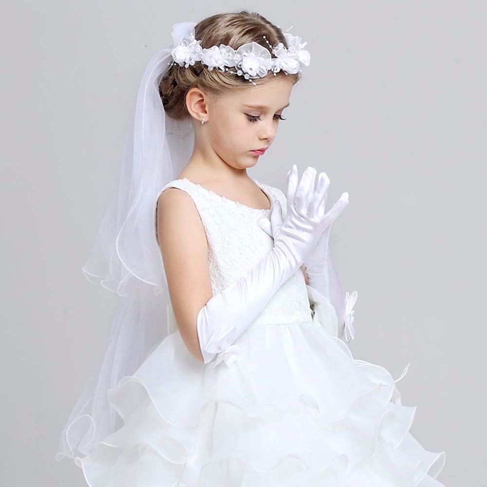 Guantes de boda para bebés y niños, guantes largos de algodón para fiestas, color sólido, guantes de boda, guantes para chico, guantes de dedo completo