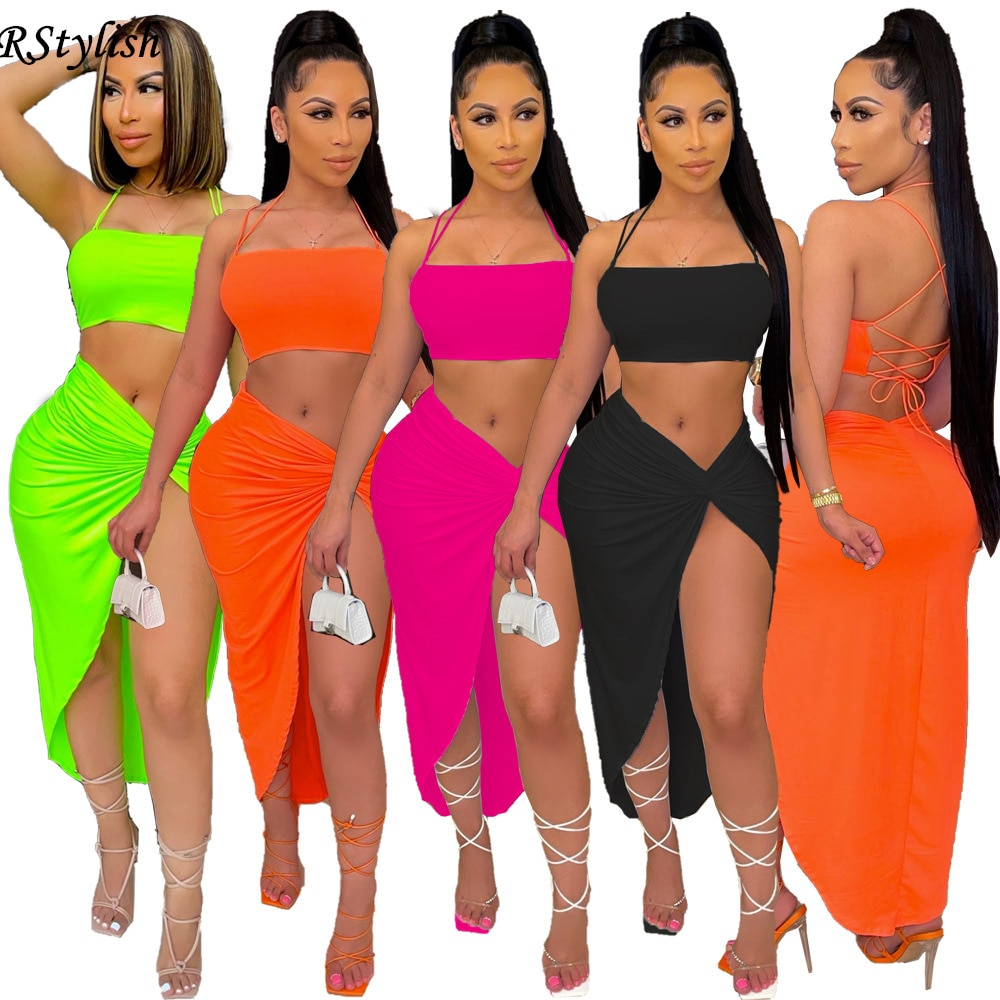 RStylish 2021 Sexy 2 Piece Set Party Dress For Women Cover Up Skirt Halter Crop Top Suit Summer Matching Club Two Piece Outfits