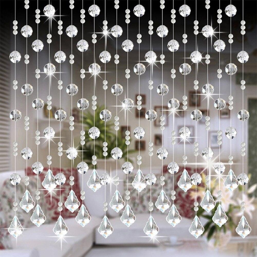 Cortina de cuentas de cristal puerta para ventana de casa interior de lujo decoración de boda cuentas colgantes cortina ornamento de vidrio transparente