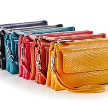 Genuine Leather Coin Purse Shoulder bag Pouch Wristlet Wallet with Shoulder Strap and Wrist Strap Cr