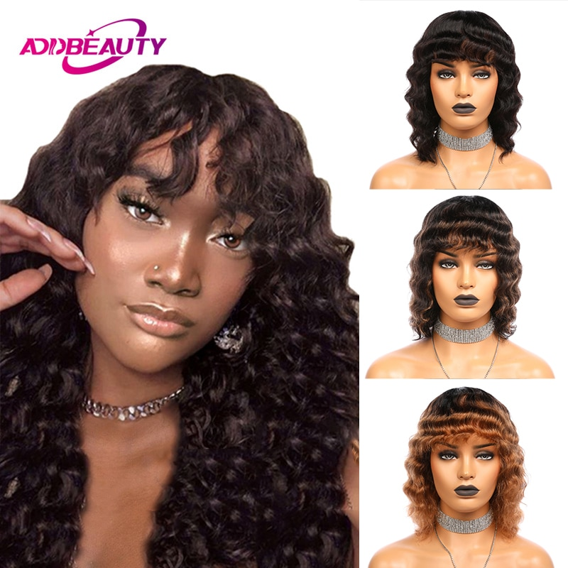 layered tail adduction long oblique bang siv human hair wig Loose Wave Human Hair Wig Short Bob Wig With Bang Ali Queen Brazilian Remy Human Hair Natural Color Ombre Full Machine Made Wig