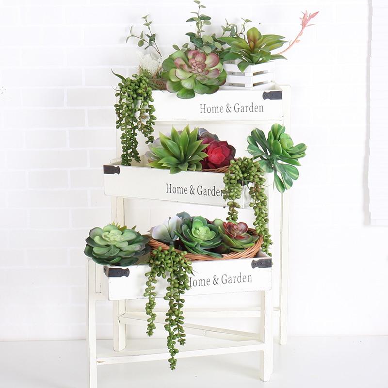 Artificial Succulents Lotus Plants Live Greenery Fake Plant Succulent tropical Home Garden Office Wedding Wall Decor Mini Bonsai
