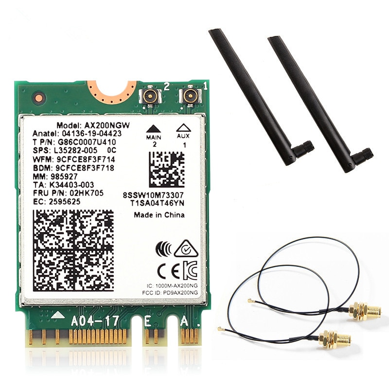 Двухдиапазонный Wifi 6 беспроводной 2400 Мбит/с AX200NGW NGFF M.2 Wlan Bluetooth 5,0 Wifi карта 802.11ac/ax для Intel AX200 антенный набор