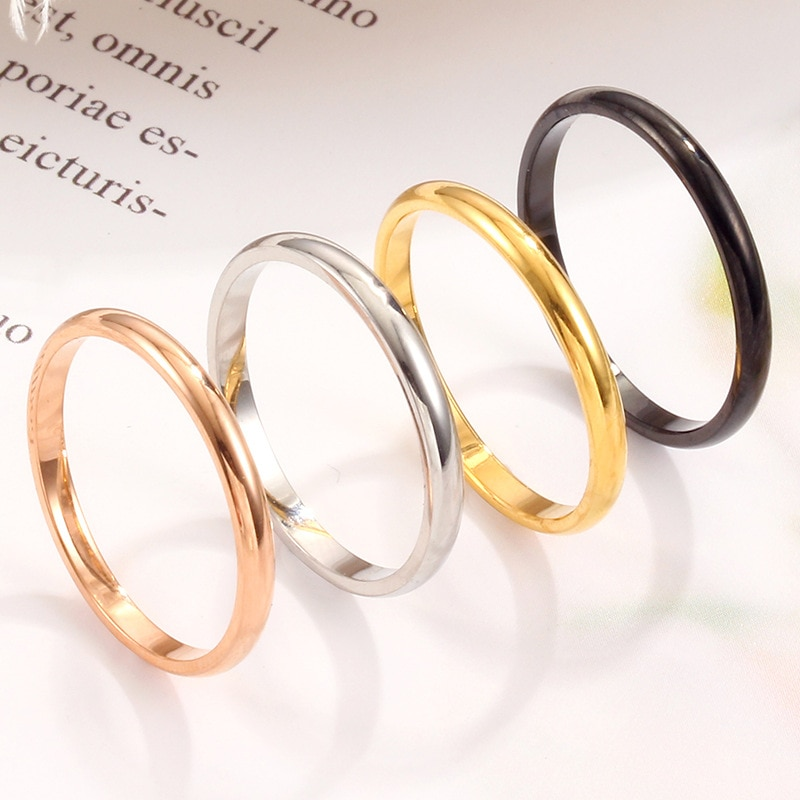 New Fashion Simple Glossy Titanium Steel Women Ring 18K Rose Gold Plated Spherical Stainless Couple Female Jewelry
