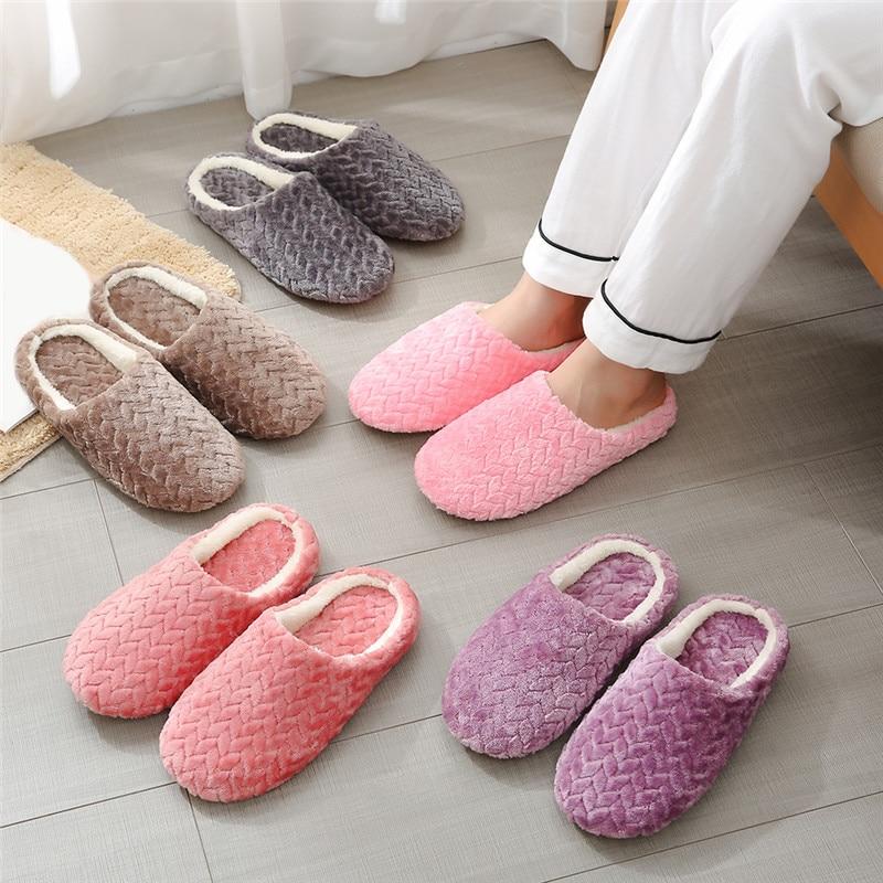 AliExpress - 2021 New Soft Sole Slippers women Men Indoor Floor Flat Shoes Spring Autumn Winter Warm Home Cotton Plush Suede