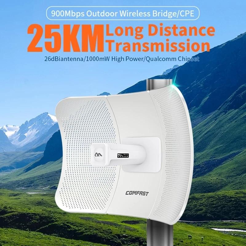 Comfast CF-E319A 5.8G عالية الطاقة اللاسلكية CPE جسر لاسلكي 10 كيلومتر الهندسة واي فاي مستقرة