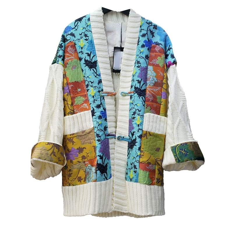 New Knitted Coat Loose Outerwear Machine Embroidery Irregular Stitching Sweater Cardigan Women Oversized Overcoats Autumn 2021 enlarge