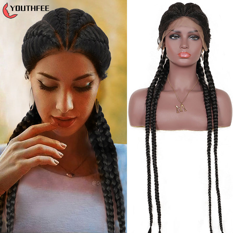 """Youthfee Box Braid Wig Synthetic Braided Wigs Lace Part Wigs With Baby Hair 35"""" Double Dutch Braided Lace Front Wigs For Women"""