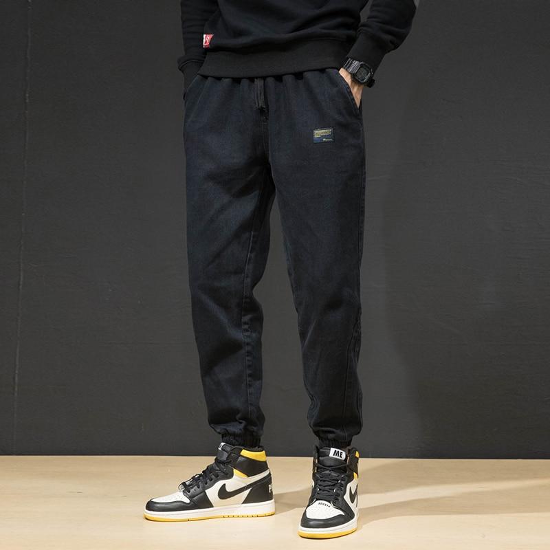 Fashion Japanese Style Men Jeans Loose Fit Black Blue Color Denim Cargo Pants Harem Trousers Hip Hop Jogger Jeans Men Warm Pants