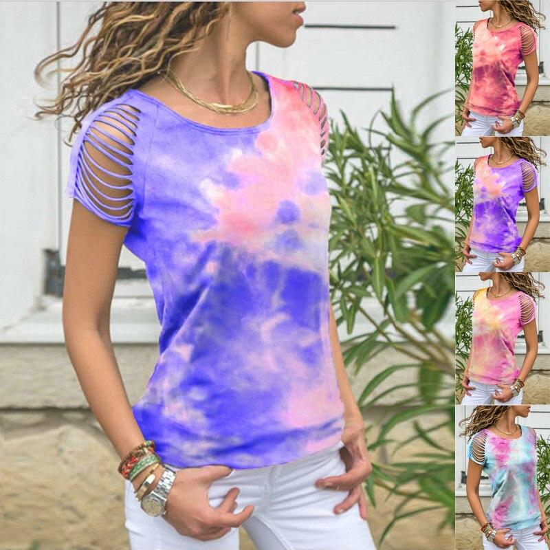 Large Size Casual Women Streetwear Tops Summer 2020 Short Sleeve Hollow Out Printed Long Shirt Fashion Women Irregular T-shirt