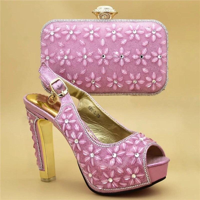 De moda italiano zapatos con bolsos a juego de alta calidad zapatos y Bolsa Africana establece 2019 nigeriano mujeres zapatos de tacón alto, zapatos de boda, zapatos