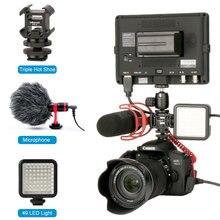 Triple chaussure chaude Vlog vidéo Microphone 112 lumière LED 49 LED pour Canon DSLR appareil photo & DJI OSMO Mobile 2 & Zhiyun lisse 4 Q cardan partie