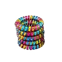 lot 10pcs size 5 5cm rainbow colorful women girls telephone wire elastic hair bands tpu rubber accessories