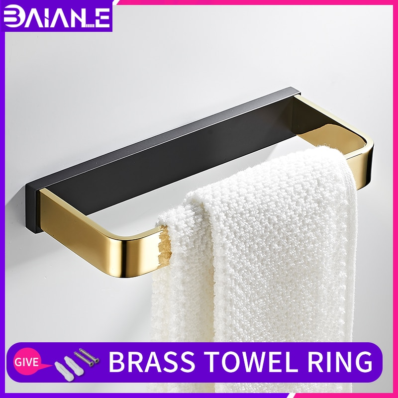 Bathroom Brass towel ring black gold wall mounted holder Towel Ring modern bathroom decorative Rings accessories