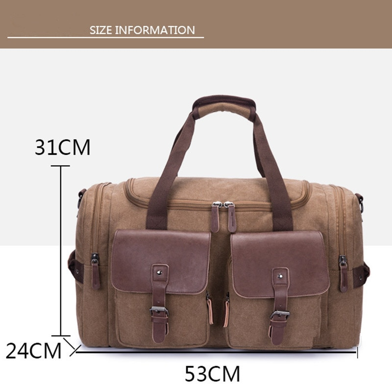 Weysfor Vogue Mens Canvas Travel Duffel Male Large Capacity Travel Bags Travel Tote Carry on Crossbody bag Overnight Duffel Bag  - buy with discount