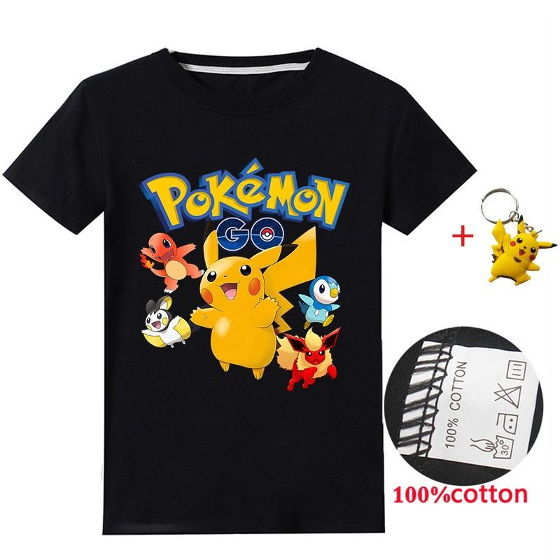 2020 New Baby Boys Pikachu Pokemon Top 3d Print Tshirt Kids Summer Clothes Boys T Shirts Girls Boy Summer Streetwear
