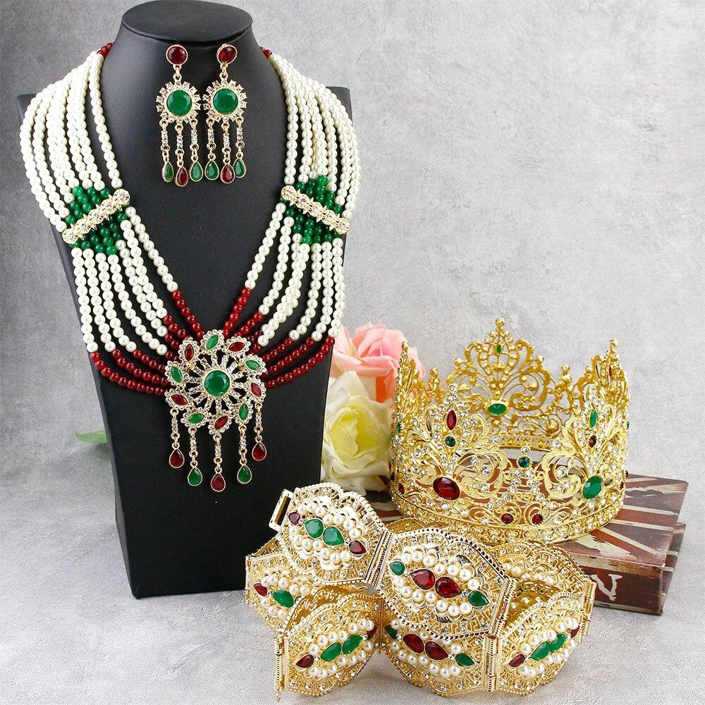 Sunspicems رائع الذهب اللون المغرب مجوهرات الزفاف مجموعات كبيرة تاج التيجان حزام خصر مطرز القرط قلادة هدية الزفاف 2021