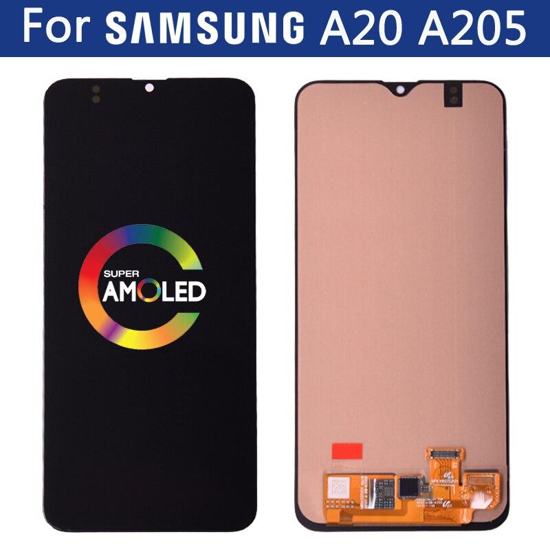 6,4 original Super AMOLED LCD para SAMSUNG Galaxy A20 A205 SM-A205F A205A pantalla táctil digitalizador reemplazo