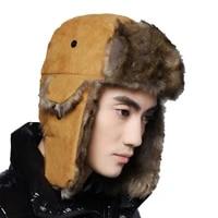 bomber hat russian cap thick warm men women winter hat ear flap ski snow trapper cap men russian ushanka fur hats for men