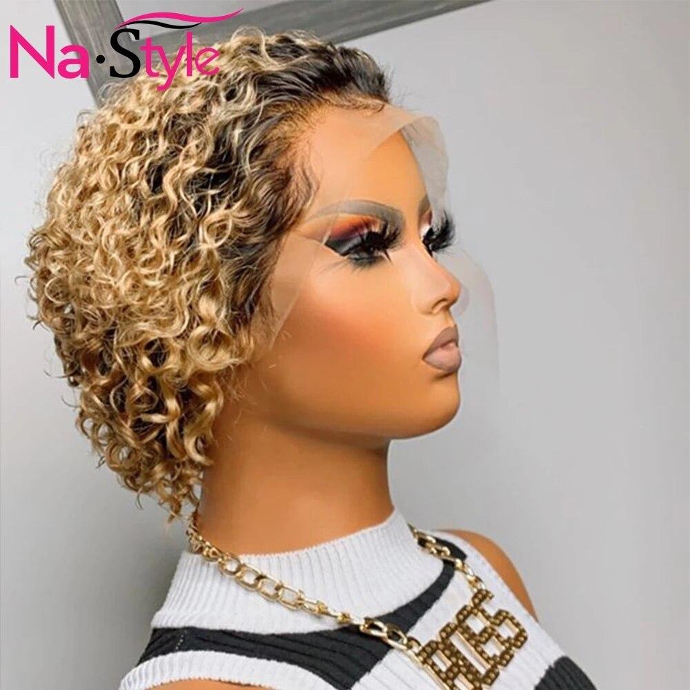 Parrucca riccia Ombre capelli umani 1b/27 miele biondo parrucche per capelli umani parte T Pixie parrucche corte capelli umani 150 Remy parrucca brasiliana