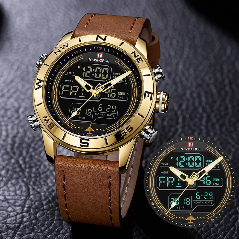 NAVIFORCE-ساعة عسكرية جلدية للرجال ، ساعة يد كوارتز رقمية Led ، رياضية ، ماركة فاخرة ، 9144