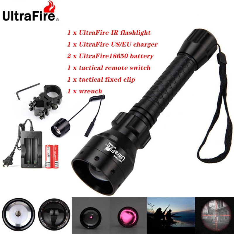 ir 850nm night vision zoomable ir infrared waterproof shake proof led flashlight with zoom telescope functions torch Ultrafire IR Night Vision Flashlight 10W 850nm 940nm LED Zoomable Flashlight Infrared Radiation Hunting Torch 18650 Battery