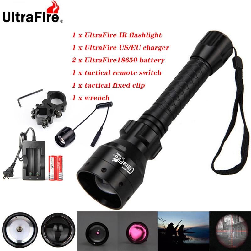 Ultrafire IR للرؤية الليلية مصباح يدوي 10W 850nm 940nm LED زوومابلي الأشعة تحت الحمراء الصيد الشعلة 18650 بطارية