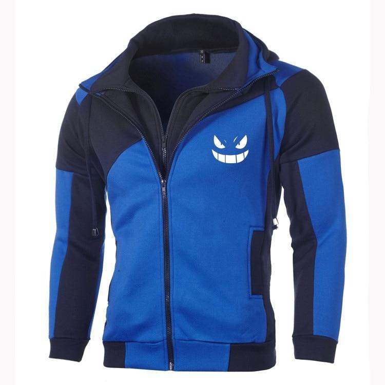 Anime Pokemon Go Cosplay sudaderas DoubleZipper chaqueta bolsillo cremallera Hoodie hombres Chaqueta de algodón abrigo