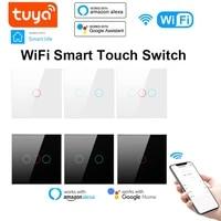 Interrupteur tactile intelligent TUYA WiFi EU  110-240V  bouton mural  1 2 3 boutons  fonctionne avec Alexa et Google Home Assistant