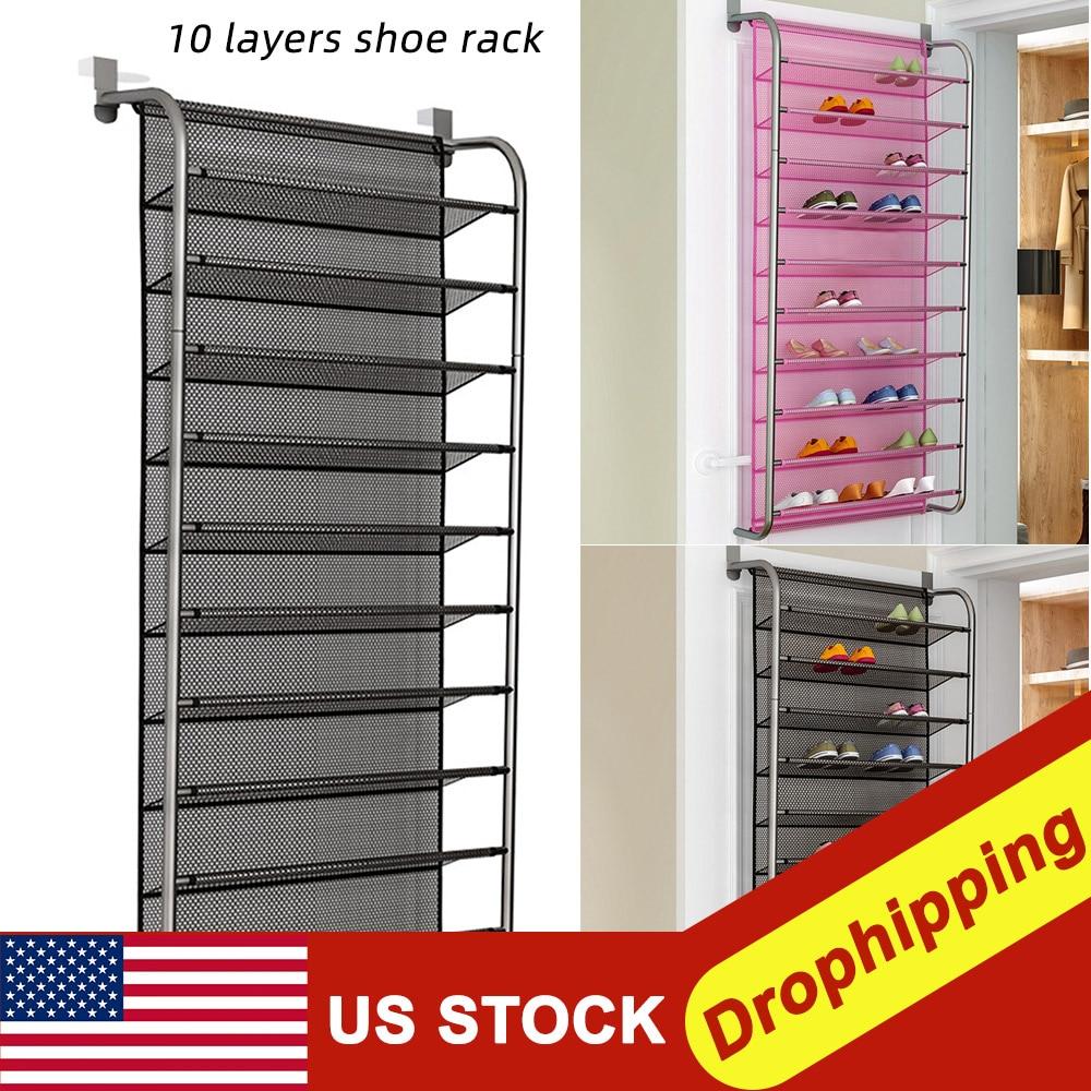36 Pair Up Door Hanging Shoe Rack 10 Tier Shoes Organizer Wall Mounted Shoe Hanging Shelf For Home Dormitory shoes