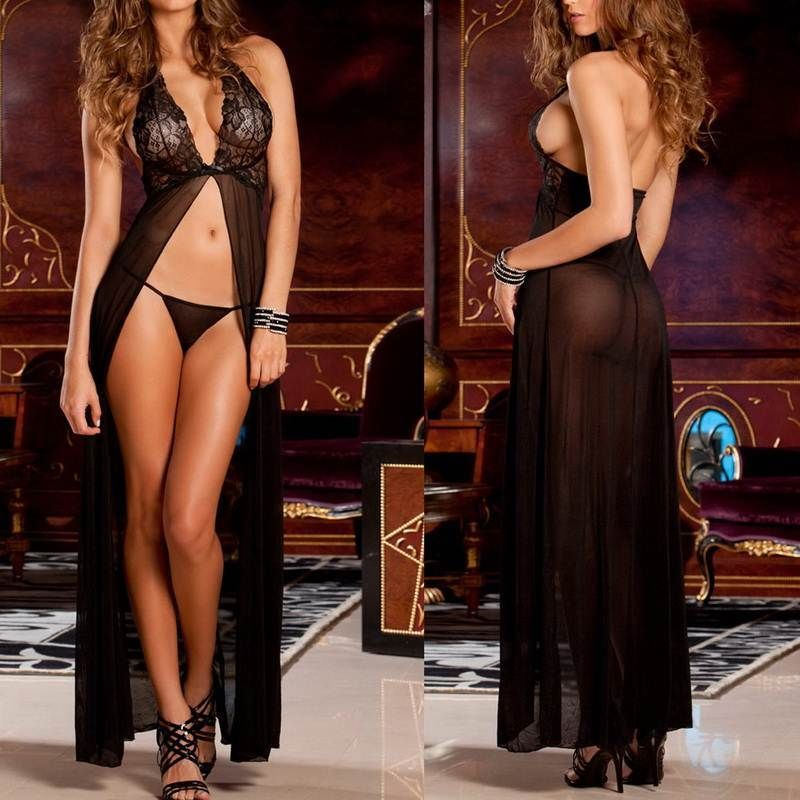 Newest Hot Black Babydoll Sleepwear and G-string Laies Hot Sexy Lingerie Lace Dress Underwear