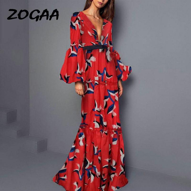 Zogaa 2019 vermelho boêmio vestido longo profundo decote em v babados nobre elegante noite de festa vestido longo feminino verão maxi robe femme