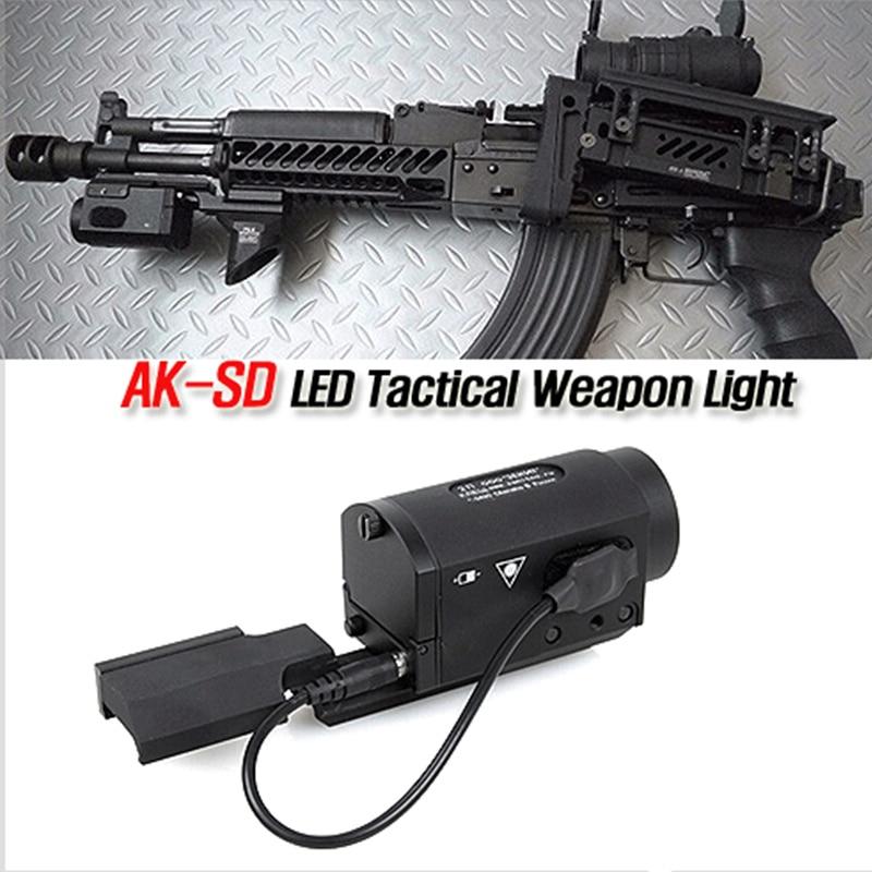 Linterna LED táctica de AK-SD con interruptor remoto, montaje Riel, Arma Airsoft Arma de caza Rifle pistola Luz