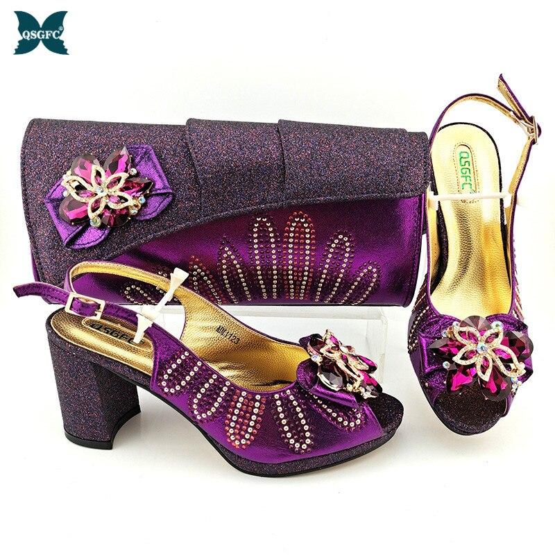 2021 الصيف التصميم الإيطالي الساخن بيع حجر الراين الملونة والمعادن الديكور أحذية النساء الطرف و مجموعة الحقائب باللون الأرجواني