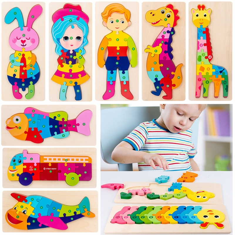 3D Wooden Puzzle Children's Early Educational Toy Games Dinosaur Animals Building Blocks Cognitive B