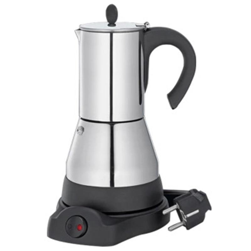480W máquina de café hogareña cafetera Espresso europeo enchufable portátil de acero inoxidable olla eléctrica Moka enchufe de la UE