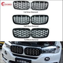 Car Black/Silver Diamond Front Bumper Intake Kidney Grills Grille for BMW E70 E71 X5 X6 2007-2013