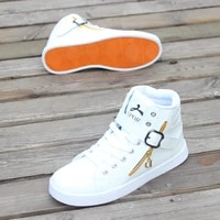 2021 high top buckle deco white leather shoes mens sneaker tenis masculino man boys sports shoes sneakers male trekking shoes