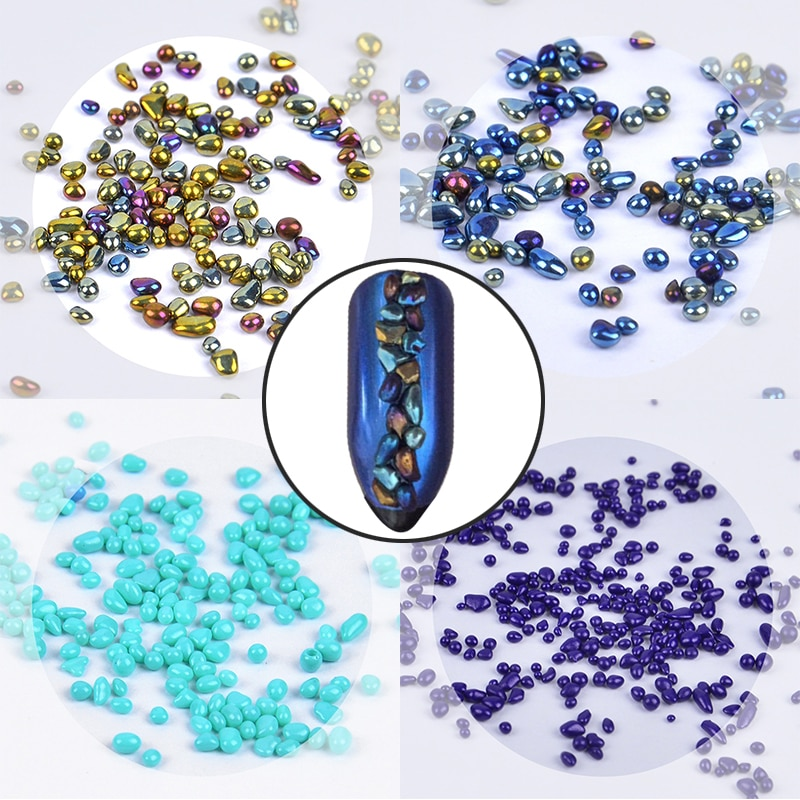 1 caja de Mini piedras de camaleón, diamantes de imitación de uñas arcoíris, cuentas irregulares holográficas, puntas de uñas de diamantes, decoración artística de uñas 3D