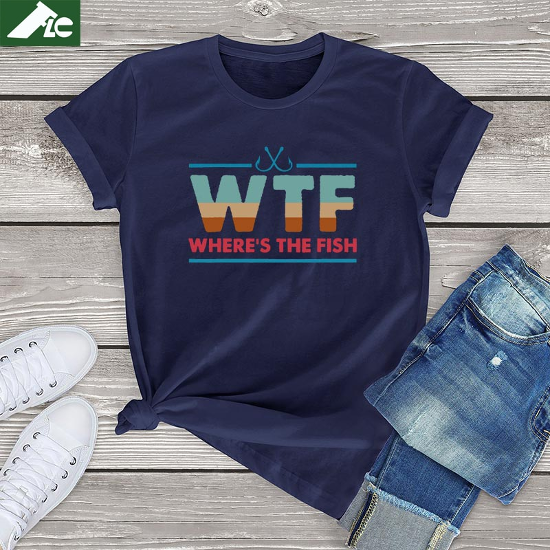 Забавные футболки WTF, женская одежда, большие футболки с рисунком, где рыба, женские мягкие футболки с короткими рукавами, блузки, унисекс, ев...