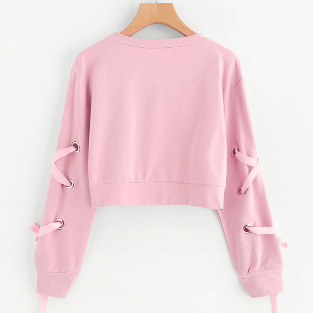 Jaycosin Women's Casual Lace Up Hoodies Women Long Sleeve Drawstring Pullover Crop Top Solid Fashion