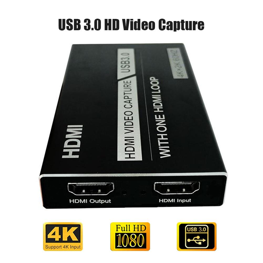 Pince à Boucle pour la Diffusion En Direct Vidéo Tuner Boîte Grabber Compatible 4K 60Hz HDMI VERS USB 3.0 Carte de Capture vidéo